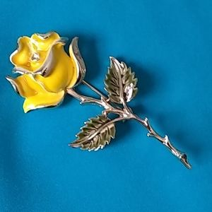 Yellow Rose Pin with Gold Tone Stem and Accents
